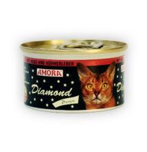 Amora Diamond Katze Herz+Hühnerleber, (szív és csirkemáj) konzerv macskáknak, 200 g