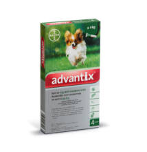 Advantix spot-on kutyáknak, 4 kg alatt,  4 x 0,4 ml kullancsok, bolhák és lepkeszúnyogok ellen