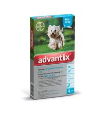 Advantix spot-on kutyáknak, 4-10 kg-ig,  4 x 1 ml kullancsok, bolhák és lepkeszúnyogok ellen