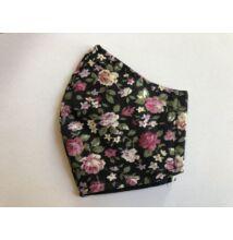 Maszk textil,  mintás, mosható virágos