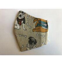 Maszk textil,  mintás, mosható szürke kutyás