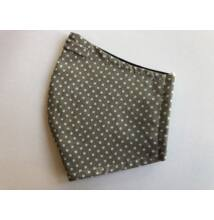 Maszk textil,  mintás, mosható  szürke pöttyös