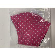 Maszk textil mintás mosható, rószaszín fehér pöttyös