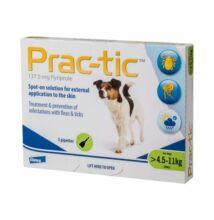 Prac-tic 137,5 mg. Spot-on 4,5-11 kg. súlyú kutyák részére  3 x 1,1ml tubus