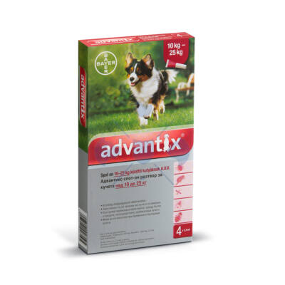 Advantix spot-on kutyáknak, 10-25 kg-ig, 4 x 2,5 ml kullancsok bolhák és lepkeszúnyogok ellen
