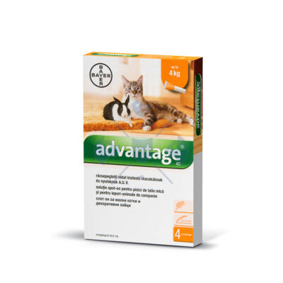 Advantage 40 Cat/Rabbit, 0,4 ml x 4 tubus, macskák és nyulak bolhásságának megelőzésére és kezelésére