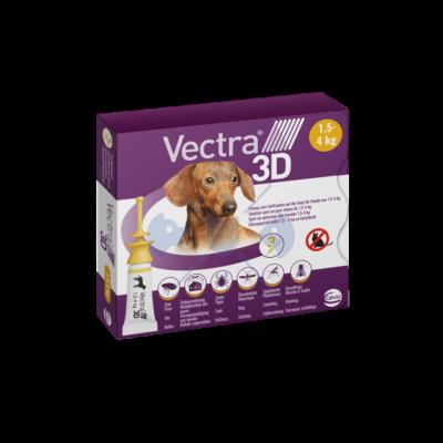 Vectra 3 D  Spot-on rácsepegtető oldat 1,5-4 kg-os kutyák részére  1 doboz/ 3 pipetta