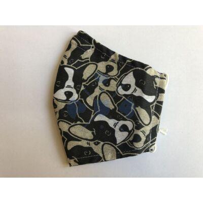 Maszk textil, mintás mosható francia buldog