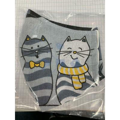 Maszk textil, mintás mosható, szürke cicás