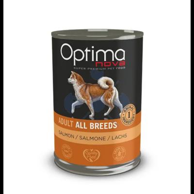 Visán Optimanova Dog Adult Salmon & Potato ( lazac és burgonya) konzerv 400g