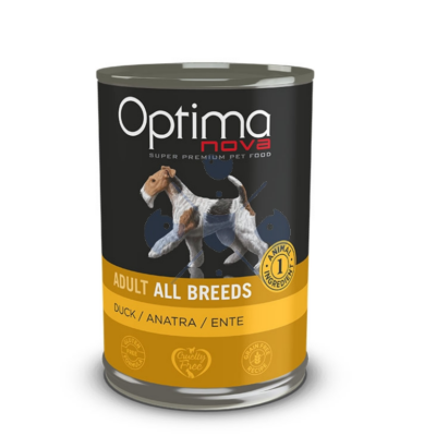 Visán Optimanova Dog Adult Duck & Potato (kacsa és burgonya) konzerv 400 g