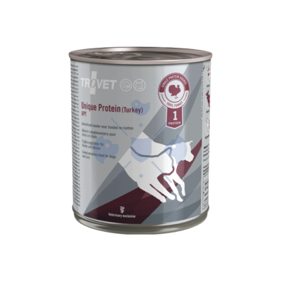 TROVET Unique Protein TURKEY UPT D/C 800 g hipoallergén (monoprotein) konzerv kutyáknak és macskáknak